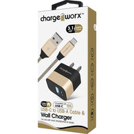 Chargeworx USB+USB-C Wall Charger & USB-C Cable