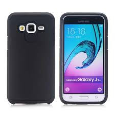 Samsung J1 2016 Hybrid Dual Layer Shockproof Rubber Defender Case - BLACK