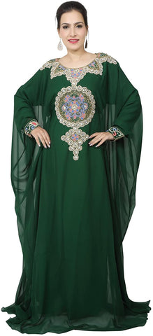 bedis-uae-style-womens-farasha-eid-ethnic-wear-maxi-arabic-islamic-muslim-abaya-dress-jilbab-kaftan-long-dress-free-size-bottle-green-kaf-2938bg-kaf-2938
