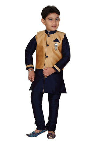 Indian Pakistani Boys kids Sherwani suit Kurta shalwar Kameez - Navy Blue Kurta Pajama with Gold Waist Coat