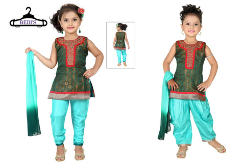 Baby Girl Salwar Suit New Born Infant Frock Suit Churidar Dress Wedding Prom Partywear + Leggings Toddler Ethnic Traditional Dupatta Suit (BGWC-504)