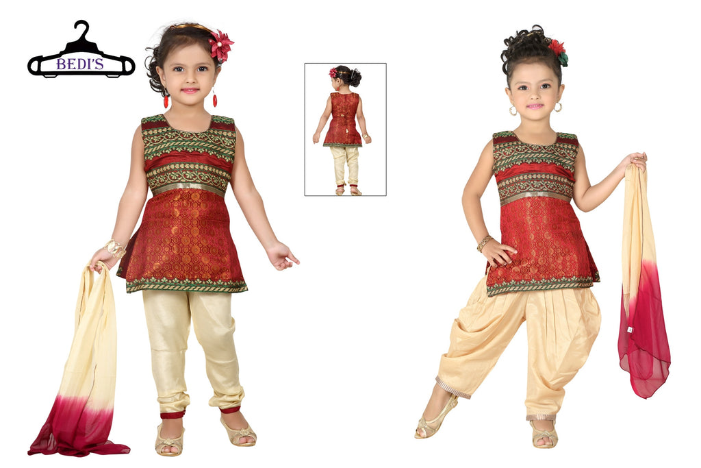 Baby Girl Salwar Suit New Born Infant Frock Suit Churidar Dress Wedding Prom Partywear + Leggings Toddler Ethnic Traditional Dupatta Suit (BGWC-505)