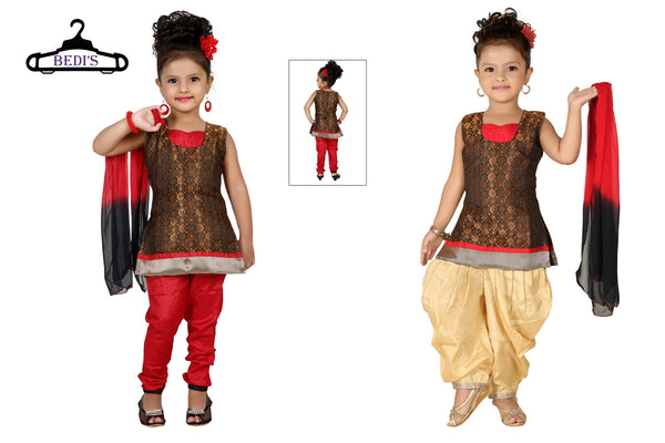 Baby Girl Salwar Suit New Born Infant Frock Suit Churidar Dress Wedding Prom Partywear + Leggings Toddler Ethnic Traditional Dupatta Suit (BGWC-506)