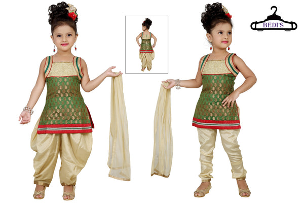 Baby Girl Salwar Suit New Born Infant Frock Suit Churidar Dress Wedding Prom Partywear + Leggings Toddler Ethnic Traditional Dupatta Suit (BGWC-507)
