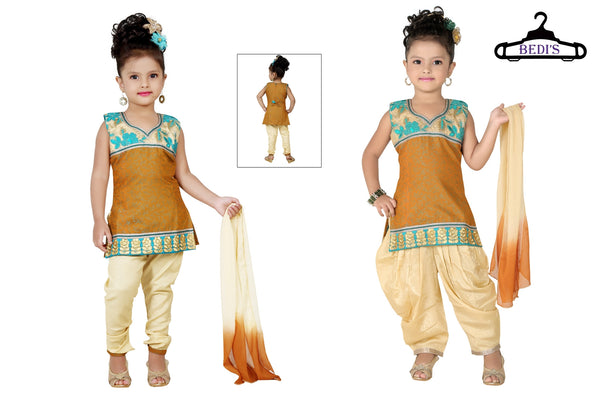 Baby Girl Salwar Suit New Born Infant Frock Suit Churidar Dress Wedding Prom Partywear + Leggings Toddler Ethnic Traditional Dupatta Suit (BGWC-508)