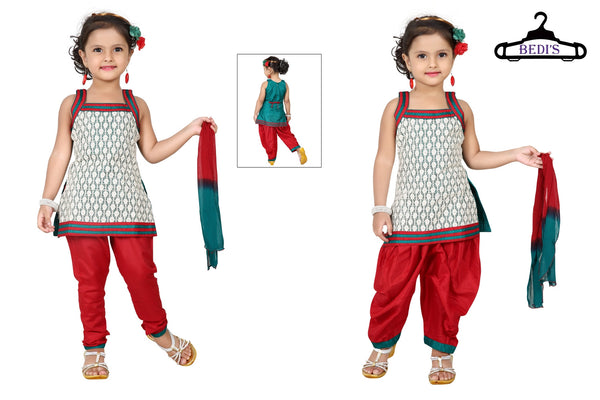 Baby Girl Salwar Suit New Born Infant Frock Suit Churidar Dress Wedding Prom Partywear + Leggings Toddler Ethnic Traditional Dupatta Suit (BGWC-509)