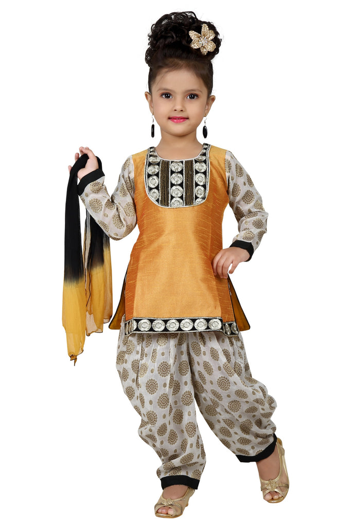 Baby Girl Salwar Suit New Born Infant Frock Suit Churidar Dress Wedding Prom Partywear + Leggings Toddler Ethnic Traditional Dupatta Suit (BGWC-511)