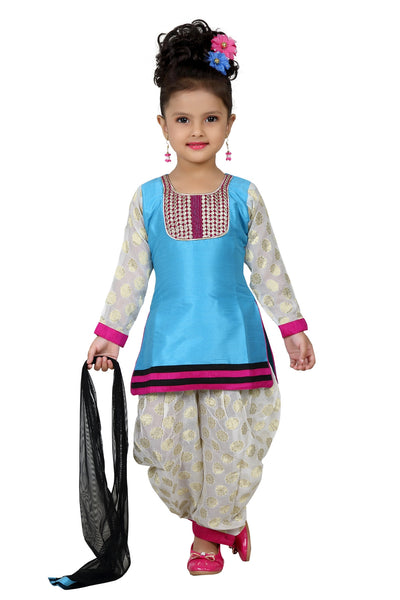 Baby Girl Salwar Suit New Born Infant Frock Suit Churidar Dress Wedding Prom Partywear + Leggings Toddler Ethnic Traditional Dupatta Suit (BGWC-512)
