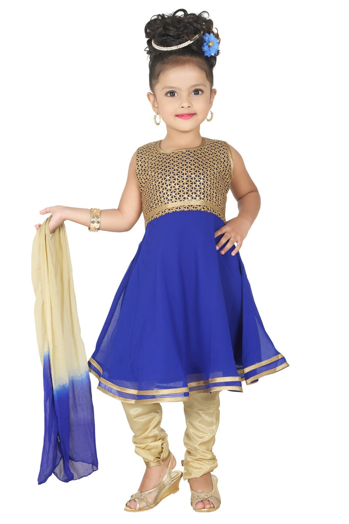 Baby Girl Salwar Suit New Born Infant Frock Suit Churidar Dress Wedding Prom Partywear + Leggings Toddler Ethnic Traditional Dupatta Suit (BGWF-538)