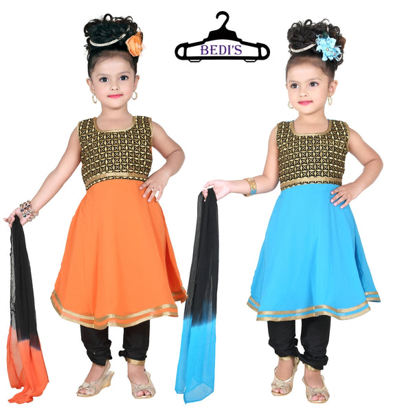 Baby Girl Salwar Suit New Born Infant Frock Suit Churidar Dress Wedding Prom Partywear + Leggings Toddler Ethnic Traditional Dupatta Suit (BGWF-539)