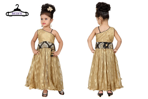 Baby Girl Salwar Suit New Born Infant Frock Suit Churidar Dress Wedding Prom Partywear + Leggings Toddler Ethnic Traditional Dupatta Suit (BGWG-526)