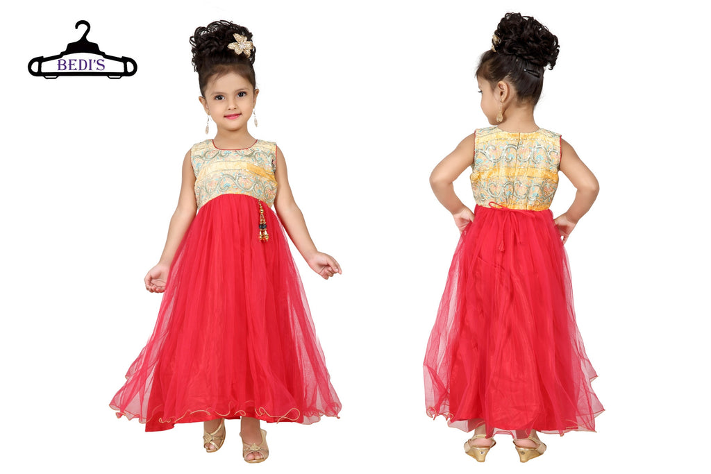 Baby Girl Salwar Suit New Born Infant Frock Suit Churidar Dress Wedding Prom Partywear + Leggings Toddler Ethnic Traditional Dupatta Suit (BGWG-528)