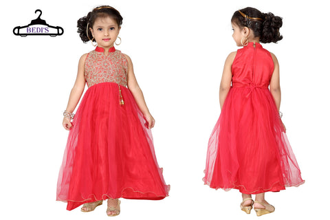 Baby Girl Salwar Suit New Born Infant Frock Suit Churidar Dress Wedding Prom Partywear + Leggings Toddler Ethnic Traditional Dupatta Suit (BGWG-531)