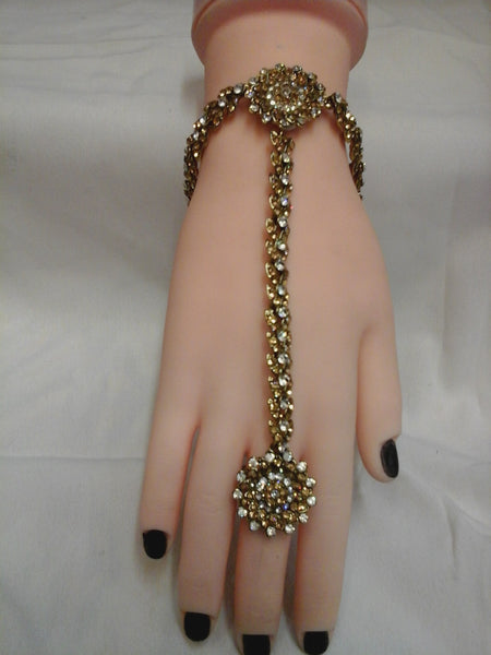 Hand chain Bracelet Panja Kundan Stone Diamante Bollywood Costume Jewellery (HP-003)