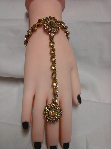 Hand Chain Bracelet Panja Kundan Stone Diamante Bollywood Costume Jewellery (HP-009)