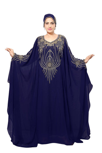 ARABIC ISLAMIC KAFTAN ABAYA FARASHA BEDIS UAE STYLE WOMEN'SMAXI MUSLIM DRESS JILBAB LONG DRESS WITH SCARF - ONE SIZE