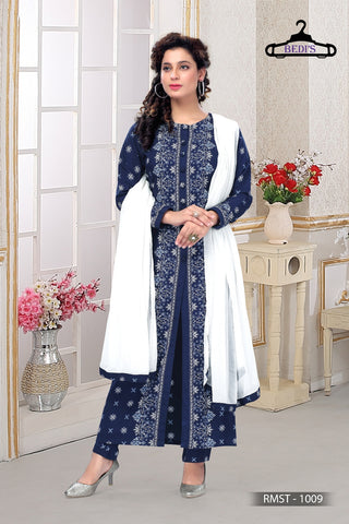 BEDI'S Women Indian Readymade Printed Anarkali Long Maxi Dress Floral Kurti with Legging and Dupatta for Casual Wear.