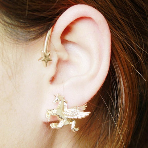 Unicorn Earring Star Gold