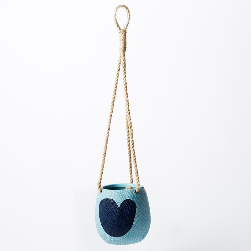 HANGING HEART POT BLUE