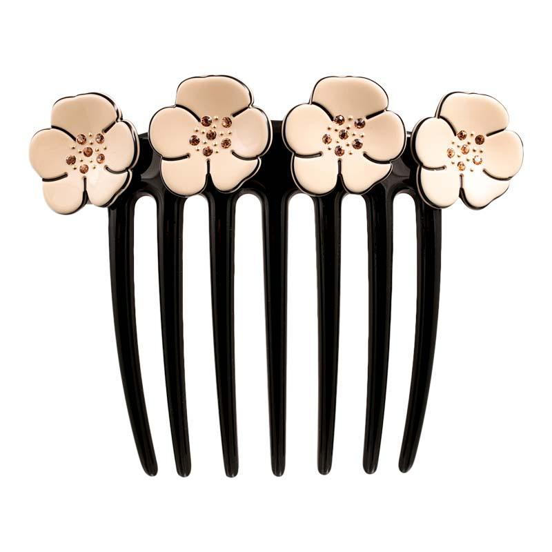 Camellia Crystal French Twist Comb