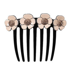 Camellia Pave French Twist Comb