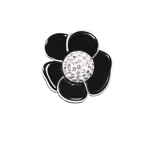 Pave Crystal Camellia Clip on Earrings