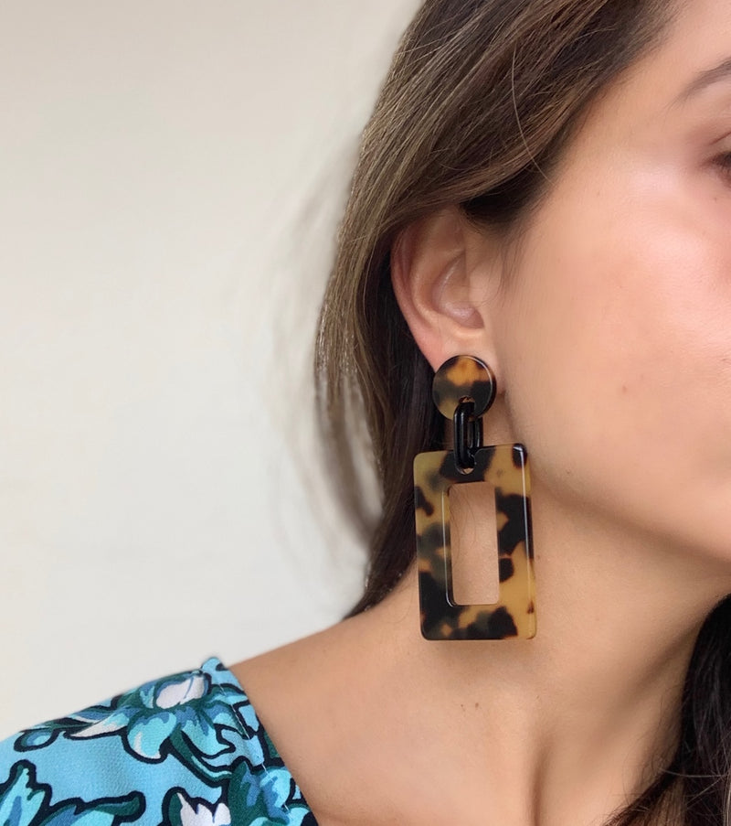 Rectangle Drop Large Earrings