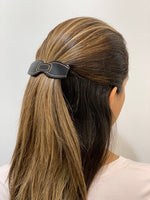 Black Small Art Deco Bow Hair Clip