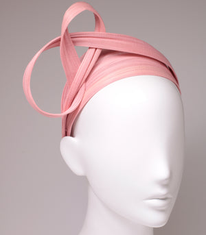 6.5 cm Baby Pink Wrap Hair Band with sculptural top online - Paris Mode Shop