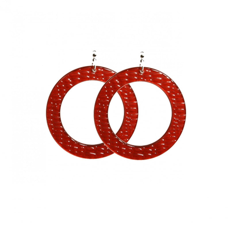 Earrings Round M Thick Serpent Red - Hand Made In France