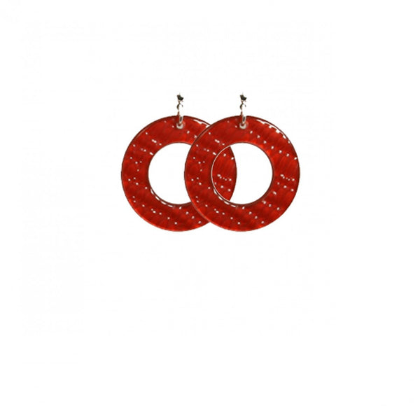 Earrings Round S Thick Serpent Red - Hand Made In France