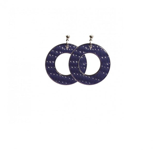 Earrings Round S Thick Serpent Blue - Hand Made In France