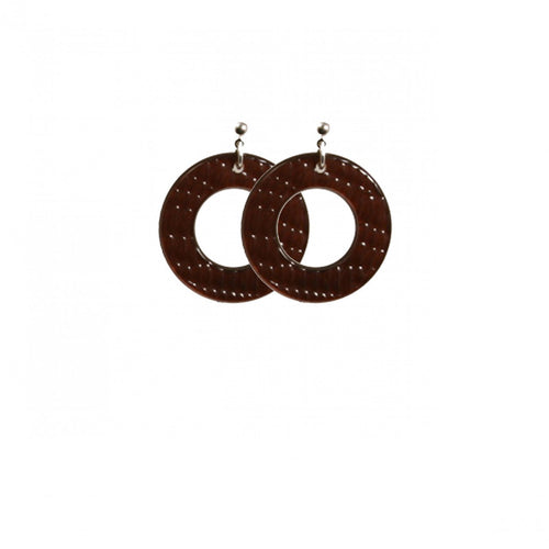 Earrings Round S Thick Serpent Brown - Hand Made In France