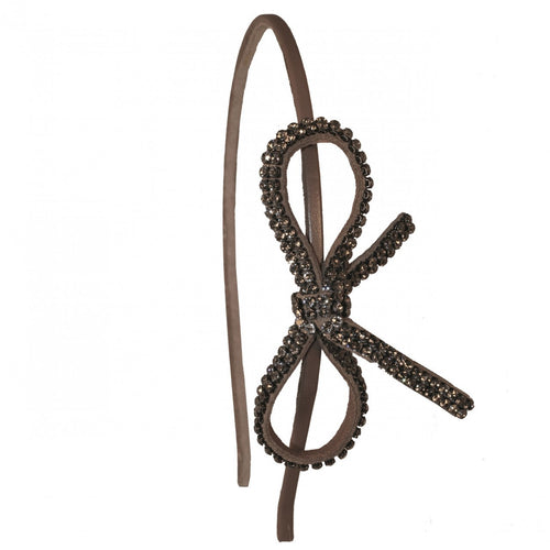 Minnie Leather Suede with Swarovski Crystals Taupe Alice Hair Band - Paris Mode