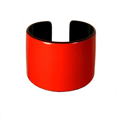 Cuff 6 Cm Red And Black - Hand Made In France