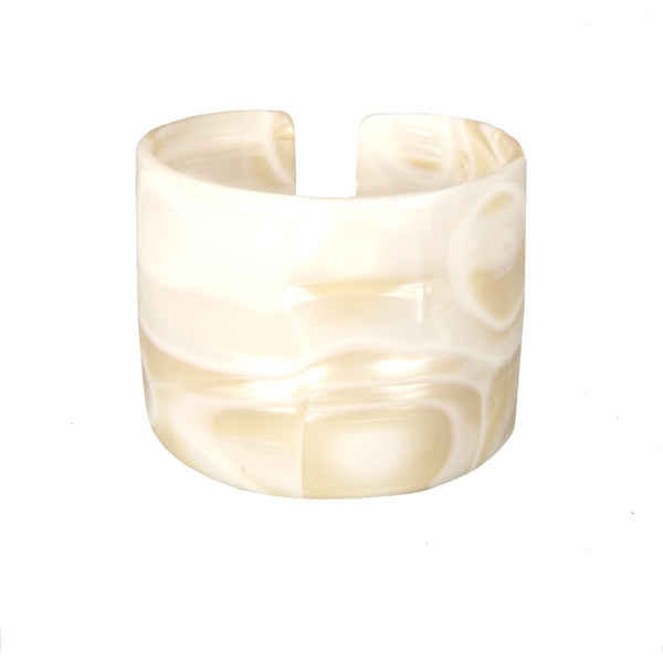 Cuff 6 Cm White Alba - Hand Made In France