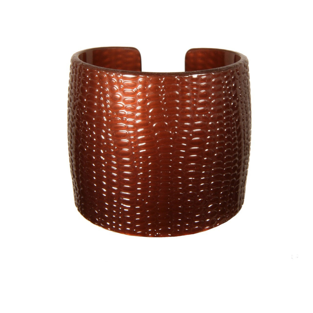 Cuff 6 Cm Serpent Brown - Hand Made In France