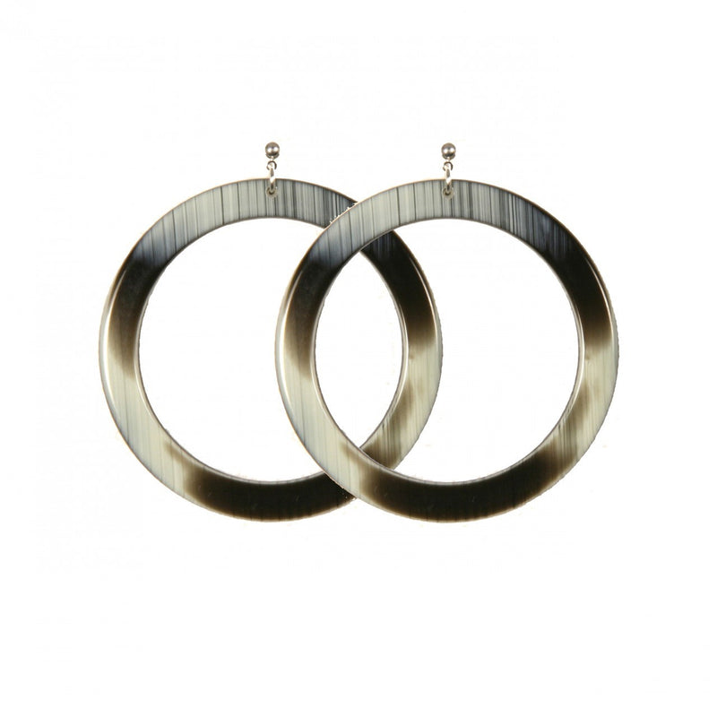 Earrings Round L Thick Corne Noire - Hand Made In France