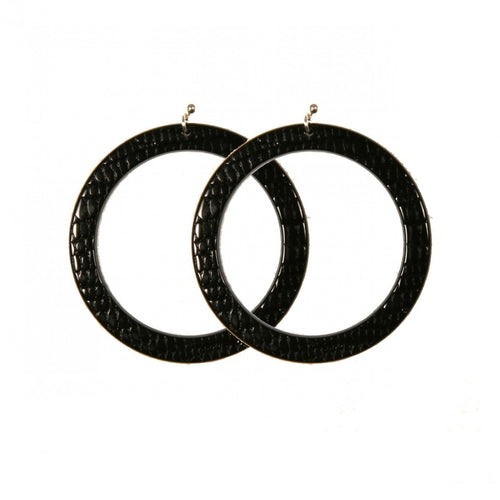 Earrings Round L Thick Serpent Black - Hand Made In France