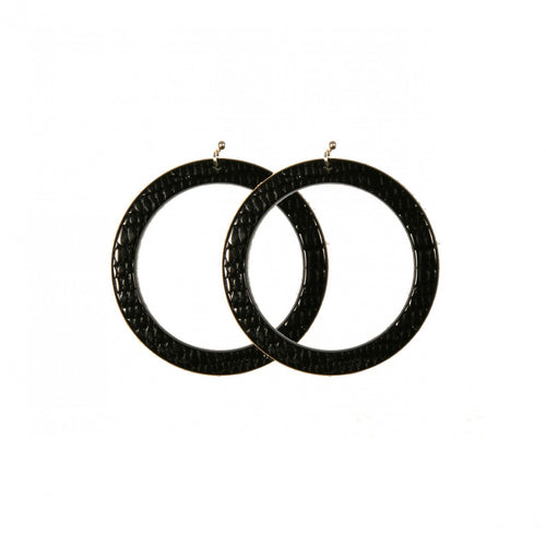 Earrings Round M Thick Serpent Black - Hand Made In France