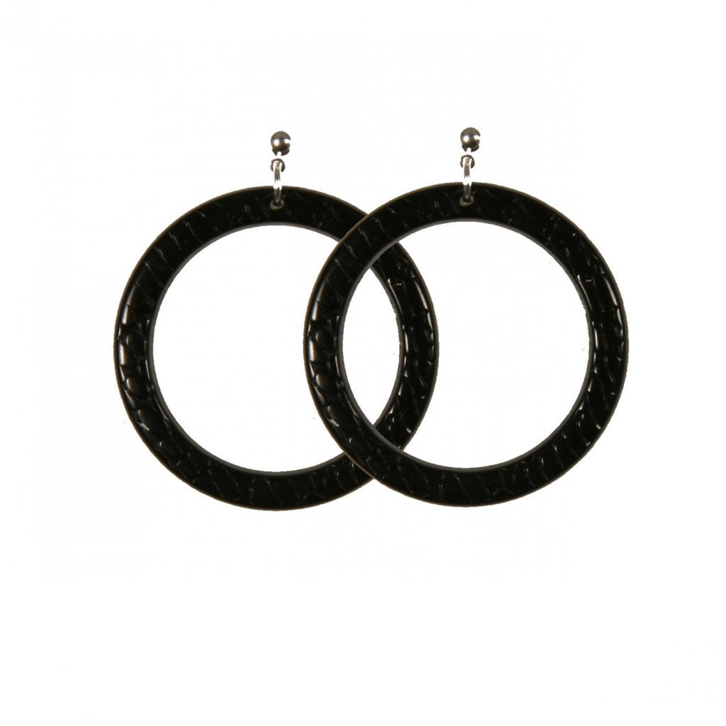 Earrings Round L Serpent Black - Hand Made In France