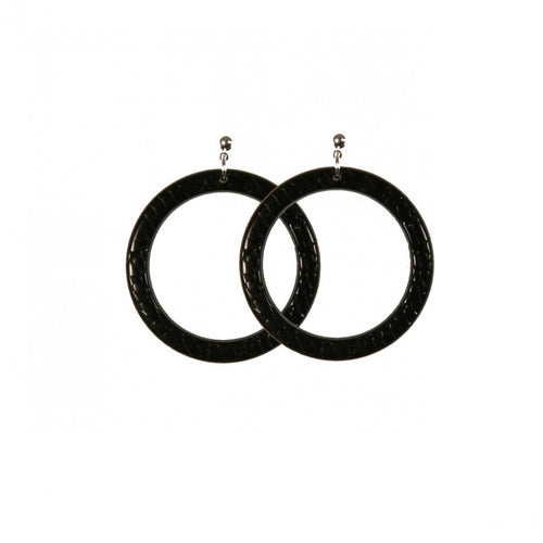 Earrings Round M Serpent Black - Hand Made In France