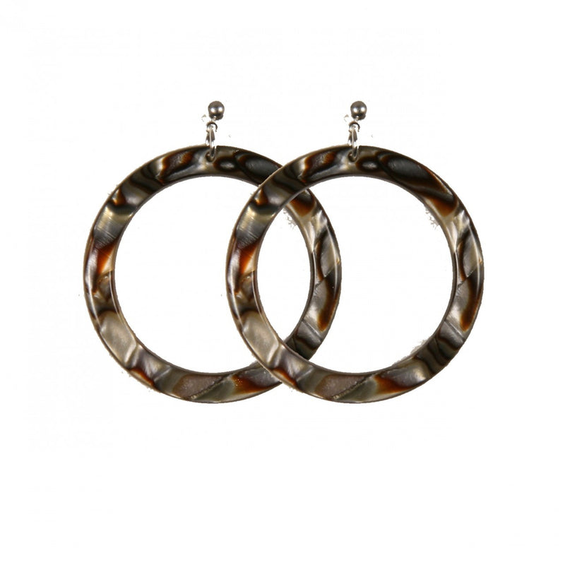 Earrings Round L Onyx - Hand Made In France