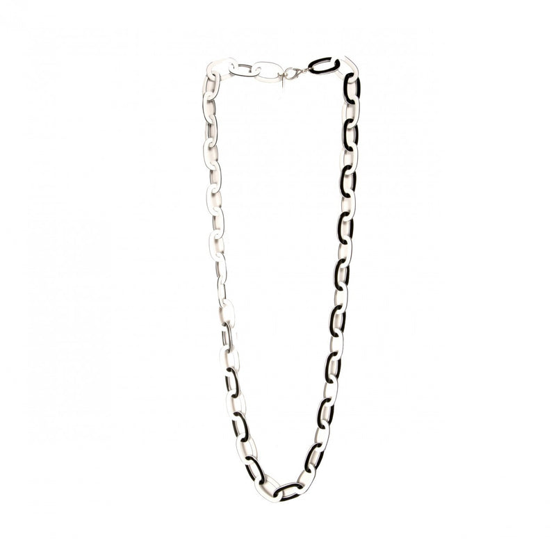 Necklace Chain Med. White And Black - Hand Made In France