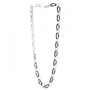 Necklace Chain Long White And Black - Hand Made In France