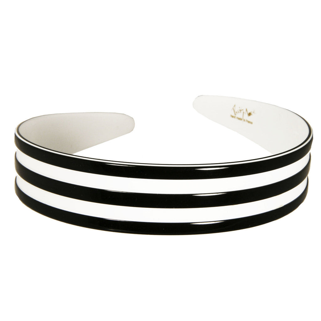 2.5 cm Black and White Alice Band Medium Ray - Parismodeshop Online