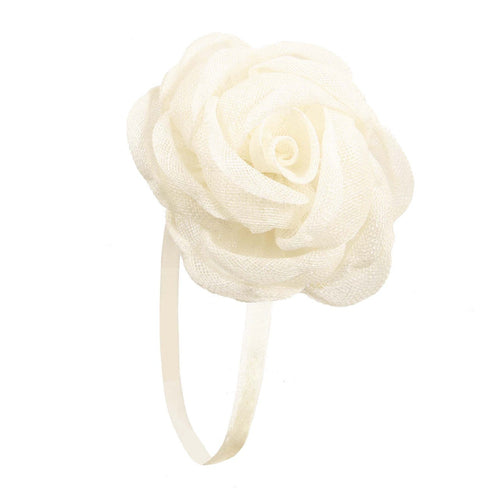 Fascinator Elastic Flower Rose Cream - Hand Made