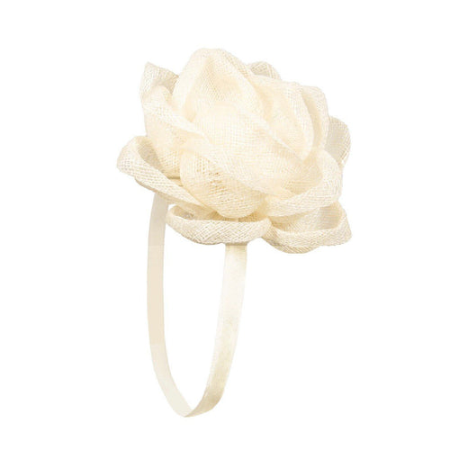 Fascinator Elastic Flower Lotus Cream - Hand Made