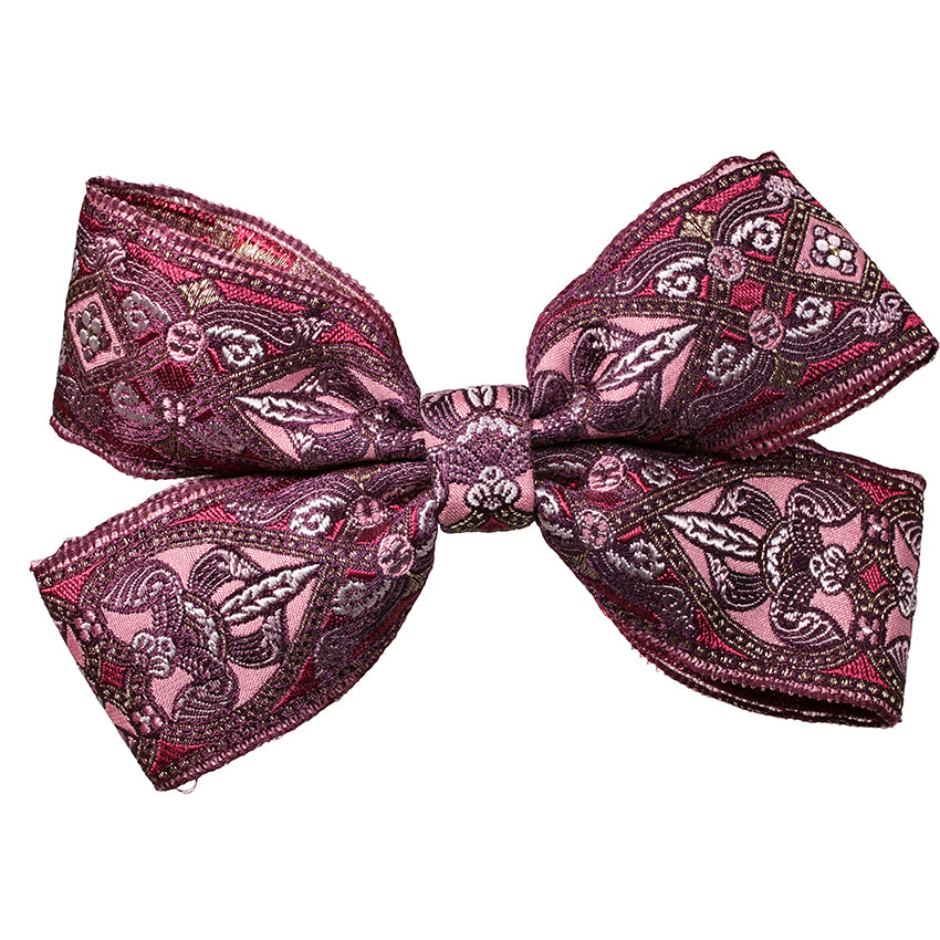 Hair Clip Brocade Double Bow Pink