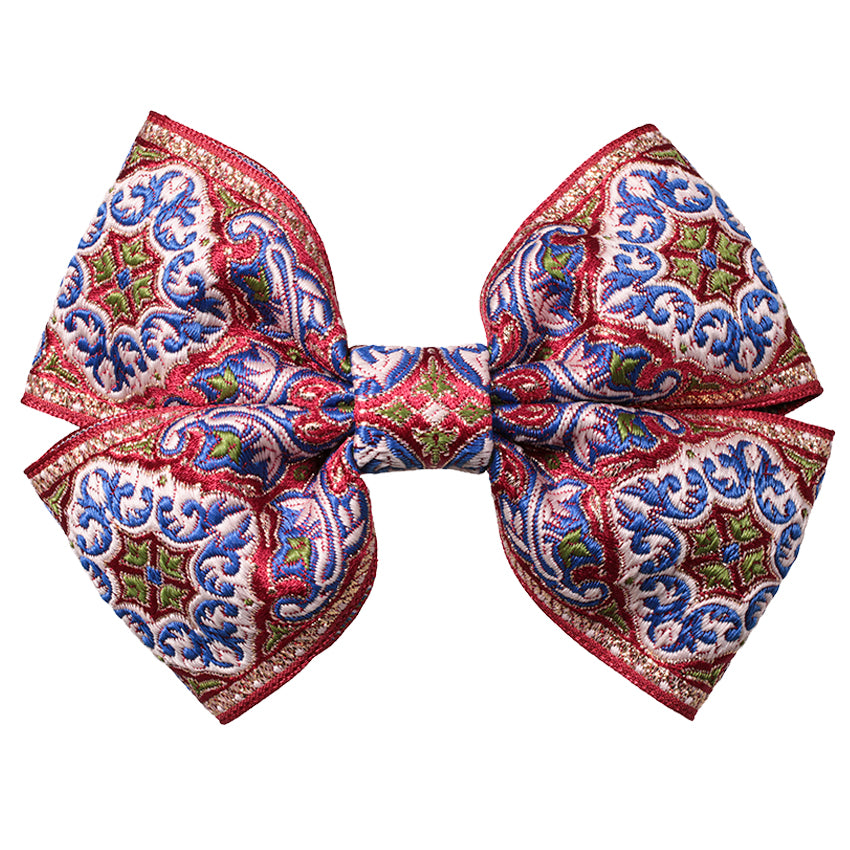 Hair Clip Brocade Double Bow Red